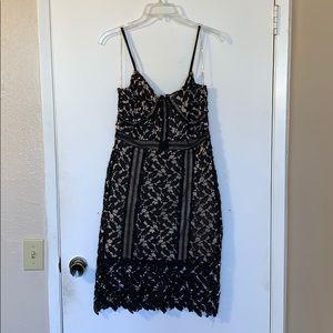 Black & nude crochet dress